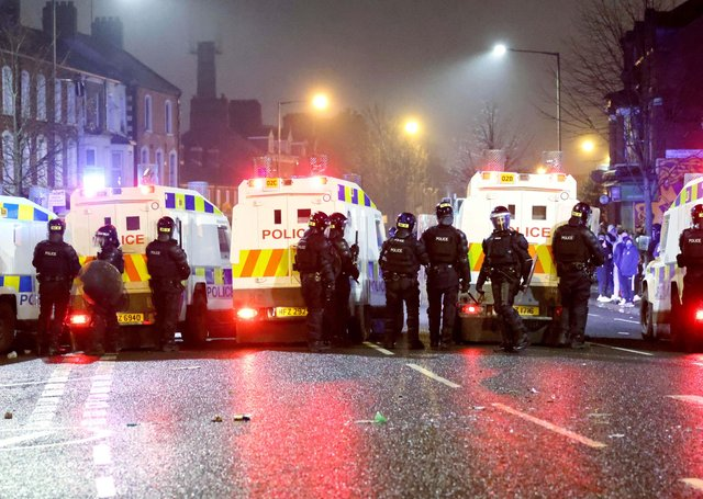 """PSNI riot squad officers try to keep nationalist and loyalists apart at Lanark Way interface in west Belfast last week. Dr Dingley writes: """"It is completely wrong that loyalists take it out on PSNI but the authorities should charge law-breaking politicians"""""""