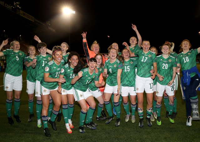 Northern Ireland players celebrate at the final whistle after defeating Ukraine 2-0 and qualifying for the the UEFA Women's Euro 2022.