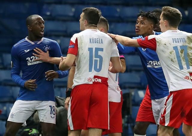 Rangers' Glen Kamara (left) argues with Slavia Prague's Ondrej Kudela.