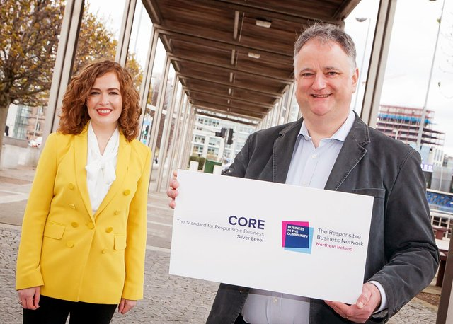 Business in the Community Deputy Managing Director Lisa McIlvenna congratulates John Healy, Managing Director of Allstate Northern Ireland on achieving CORE: The Standard for Responsible Business accreditation