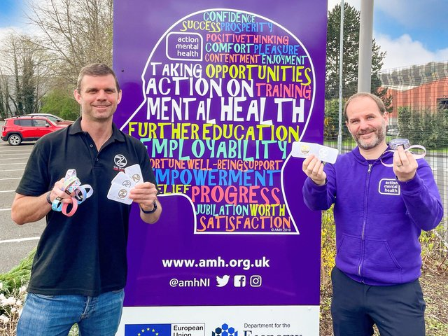 Ozz Bands' Jarrett Truscott with, Head of Communications & Fundraising at Action Mental Health, Jonathan Smyth