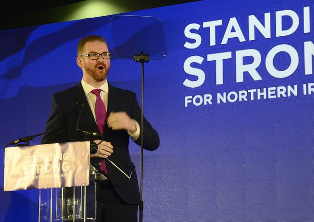 Simon Hamilton, now head of the Belfast Chamber of Commerce, speaking at a DUP conference when he was an MLA