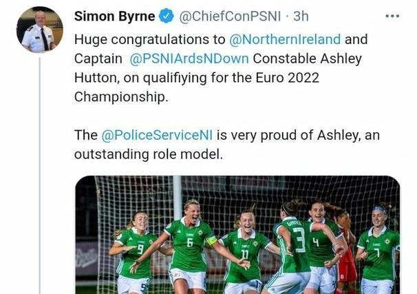 Chief Constable Simon Byrne's tweet on Wednesday