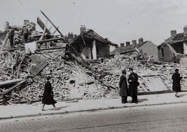 The Shore Road was left in ruins after the Blitz