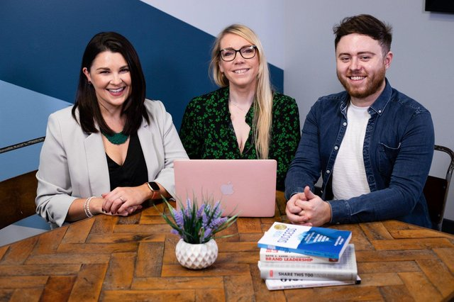 Sara Caithness, MD Samantha Livingstone and Ciaran Mullan from Rumour Mill Creative Communications