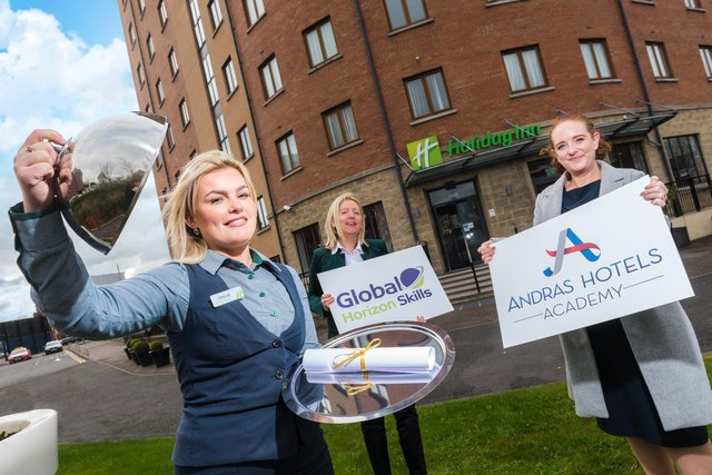 Chloe O'Toole, Receptionist at Holiday Inn, Belfast is pictured with Catherine McGeady, Business Development Manager at Global Horizon Skills and Jacqueline Canning, HR manager in Andras Hotels