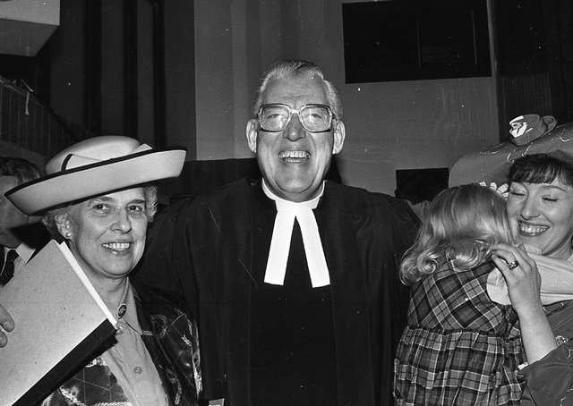 The Reverend Dr Ian Paisley with his wife Eileen, daughter Sharon and shy grand-daughter Lydia at the Free Presbyterian Church's 40th anniversary celebrations at the King's Hall in March 1991. Picture: News Letter archives