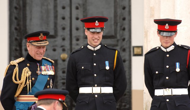 Princes William and Harry with their grandfather, the Duke of Edinburgh