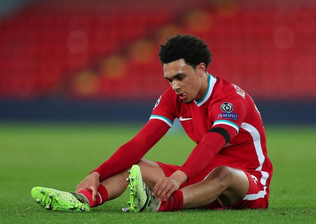 Liverpool's Trent Alexander-Arnold appears dejected at the final whistle after the UEFA Champions League match against Real Madrid at Anfield on Wednesday.