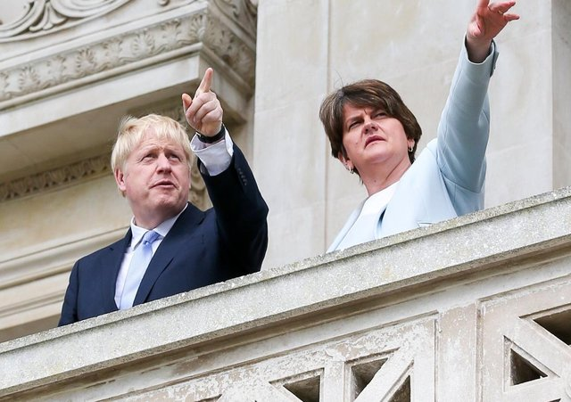 """Arlene Foster, right, told the influential Institute for Economic Affairs in London that Boris Johnson """"is beginning to realise"""" the scale of the protocol problems. Really?"""