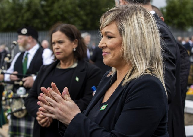 """The deputy first minister Michelle O'Neill, right, with Mary Lou McDonald at the Bobby Storey funeral, has contributed to the crisis, says Lord Morrow, """"whether in relation to flouting Covid rules or by calling for the rigorous implementation of the protocol"""""""