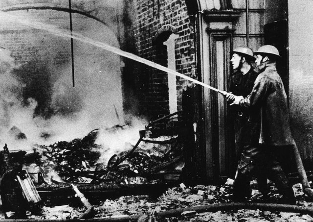Soldiers try to make safe blitzed premises in Belfast after the May 4/5, 1941, raid by the German Luftwaffe. Picture: News Letter archives
