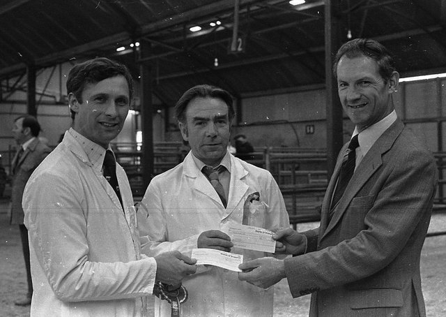 Championship cheques at the Landrace show and sale at Ballyclare being handed over to the winners by Mr Eddie Brett, manager of the Ballymena branch of the Bank of Ireland, which sponsored the special prizes at Ballyclare in April 1980. On the left is Mr Cyril Millare from Coleraine (£30 for supreme champion) and Mr Robert Overend, Bellaghy (£20 for reserve). Picture: Farming Life archives