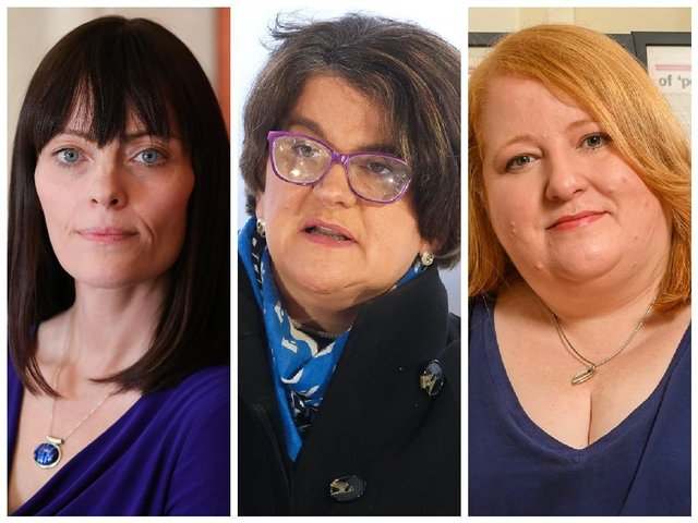 Pictured from left to right, Infrastructure Minister and deputy leader of the SDLP, Nichola Mallon, First Minister and leader of the DUP, Arlene Foster and Justice Minister and Alliance Party leader, Naomi Long.