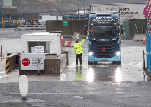 Trucks arrive at Larne port. File photo.