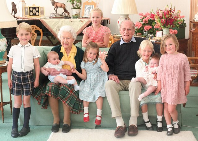 Handout image taken at Balmoral in 2018 and released on 14/04/21 of Queen Elizabeth II and the Duke of Edinburgh with their great grandchildren. Pictured (left to right) Prince George, Prince Louis being held by Queen Elizabeth II, Savannah Phillips (standing at rear), Princess Charlotte, the Duke of Edinburgh, Isla Phillips holding Lena Tindall, and Mia Tindall. Issue date: Wednesday April 14, 2021.