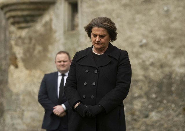 Northern Ireland's First Minister Arlene Foster   observes a minute's silence to mark the funeral of the Duke of Edinburgh at Enniskillen Castle, Co Fermanagh on Saturday. Photo: Mark Marlow /PA Wire