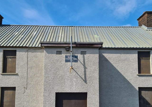 The flag pole where the Union Flag was removed at Dunloy Orange Hall.