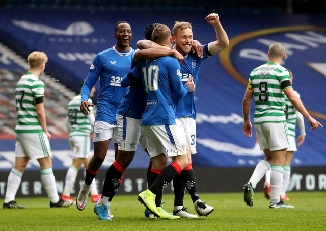 Rangers' Steven Davis (centre) celebrates scoring the first goal of the game against Celtic at Ibrox.