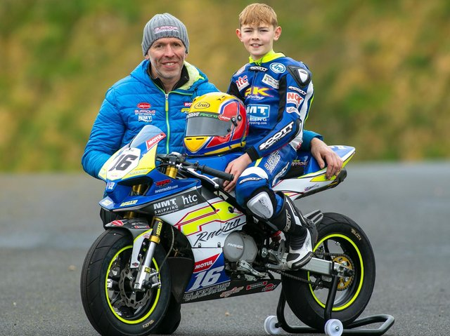 John Burrows with his son Jack during a test day at Nutts Corner on Sunday. Picture: Baylon McCaughey.