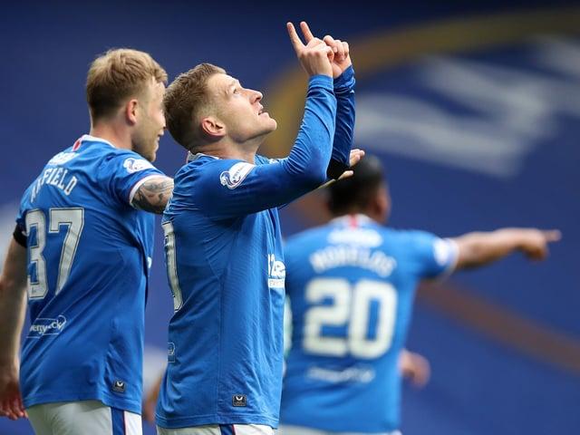 Rangers' Steven Davis celebrates his spectacular goal against Celtic