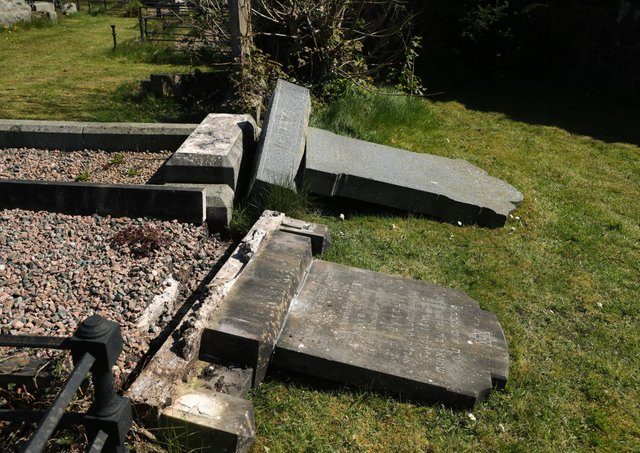 Damage to gravestones in the Jewish section of Belfast's City Cemetery. About 10 graves in the cemetery on the Falls Road in west Belfast were damaged on Thursday evening. Police said the incident is being investigated as a hate crime. Photo by Kelvin Boyes  / Press Eye.