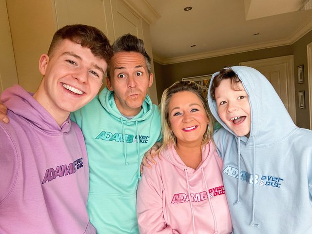 Adam B with his family in his new merchandise collection