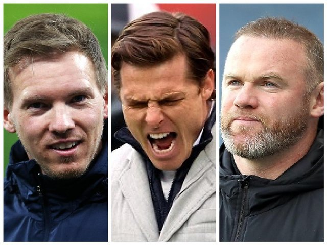 Pictured from left to right - RB Leipzig manager Julian Nagelsmann, Fulham manager, Scott Parker and Derby County manager, Wayne Rooney.