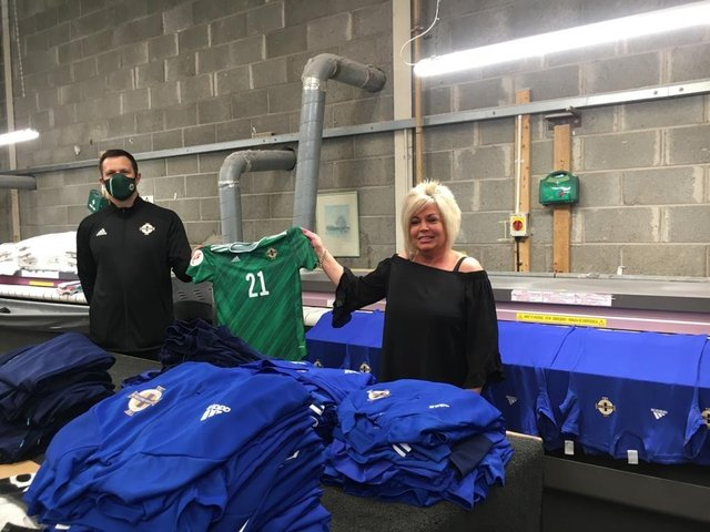 Johnny, Coach at Northern Ireland Ladies Football Team is pictured with Nikki Sturgeoner, Kit Cleaning Company, Belfast