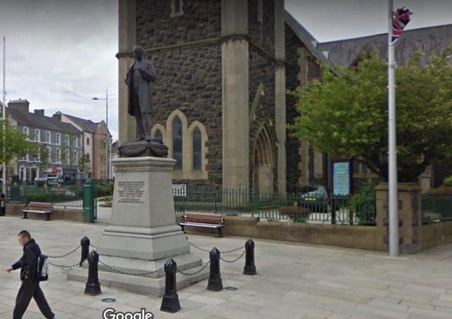 The statue to Colonel Edward Saunderson outside St Mark's Church in Portadown. Picture: Google