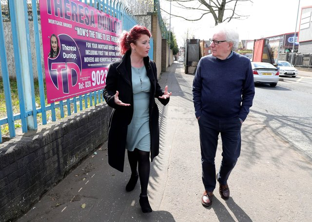 16th April  2021 Louise Haigh,  Shadow Secretary of State for Northern Ireland, with Shankill Road Community worker Jackie Redpath at Lanark Way peace gates in west Belfast