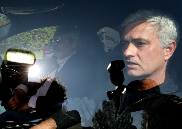 Jose Mourinho leaves Tottenham Hotspur's training ground, Enfield, on Monday.