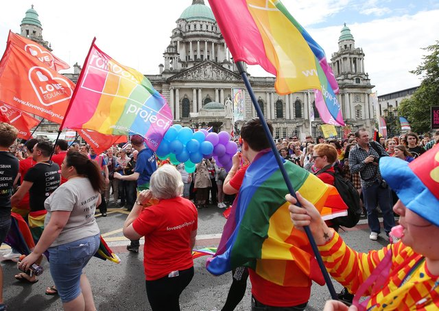 Participants in the Belfast Gay Pride event in 2016
