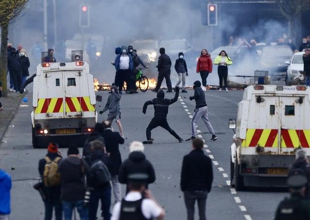 LOYALIST PROTESTORS SET FIRE TO BINS AND BLOCK LANARK WAY YESTERDAY