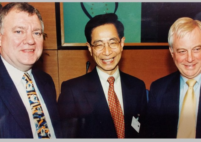John Cushnahan, left, pictured with Martin Lee, leader and founder of Hong Kong Pro-Democracy Movement, who escapted jail last week, unlike other activists. Also pictured is Chris Patten, then EU External Relations Commissioner and before that the last governor of Hong Kong.  Mr Cushnahan is a former Alliance Party leader then Fine Gael MEP, who was European Parliament Rapporteur for Hong Kong from 1997 to 2004 after Hong Kong was handed back to China. The exact date of the picture is unknown but was taken in 2002 or 2003