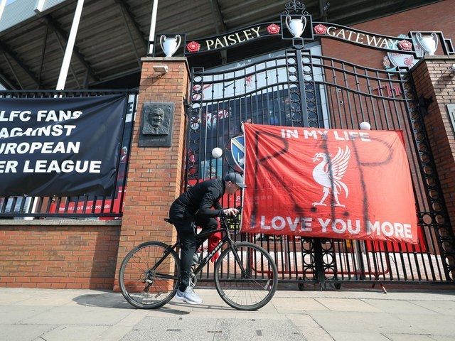 Banners outside of Anfield Stadium, Liverpool protesting against the clubs decision to join the European Super League