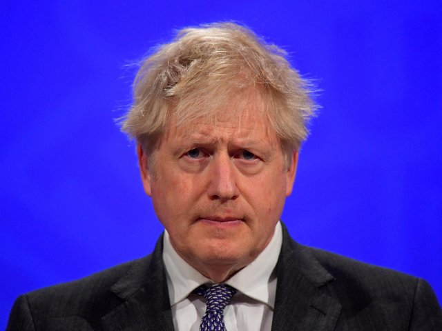 Boris Johnson pictured during a press conference in Downing Street earlier today.