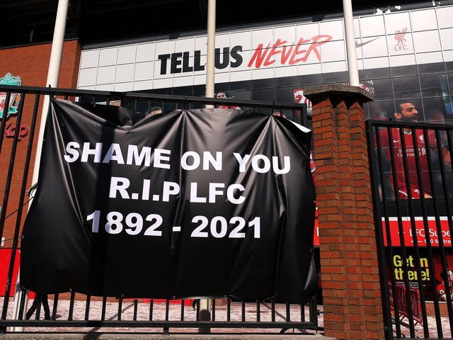 Liverpool fans made sure their voices were heard with the erection of this banner at Anfield Stadium.