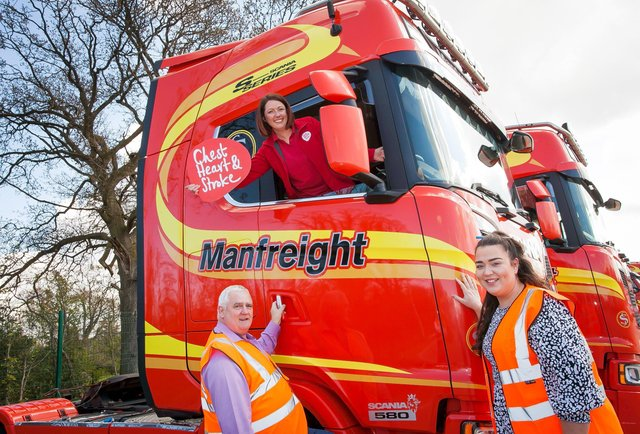 Emma McCrudden, Programme Manager of Work Well Live Well from NICHS with Aisling Murphy and Paddy Halligan, Health Champions at Manfreight Limited