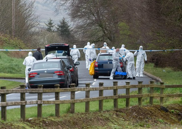 A major forensic investigation followed the discovery of a viable explosive device near Dungiven on Monday. Photo: Pacemaker Belfast
