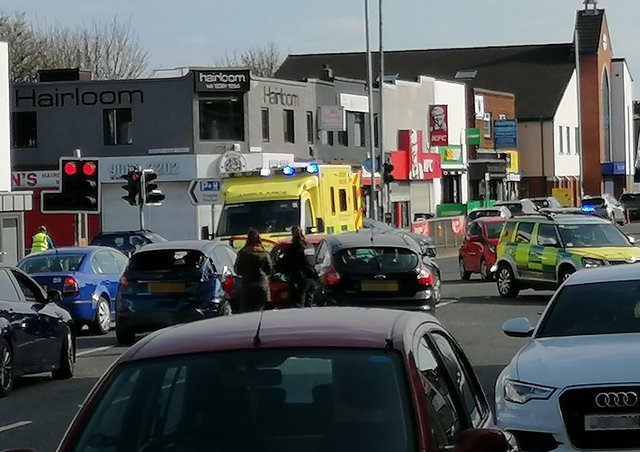 Diversions were in place following the collision in Finaghy.