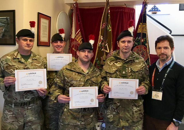 Former Royal Fusiliers captain Andrew Rawding, far right, with some serving members of the regiment he has trained in suicide awareness.