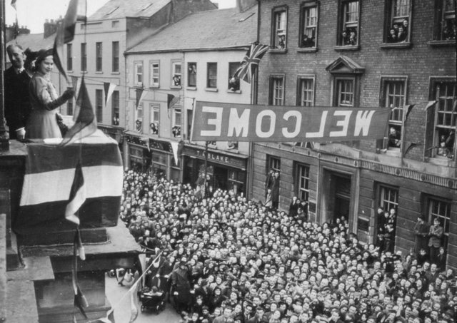 Princess Elizabeth greets crowds from the balcony of Enniskillen Town Hall in 1946. Picture: News Letter archives