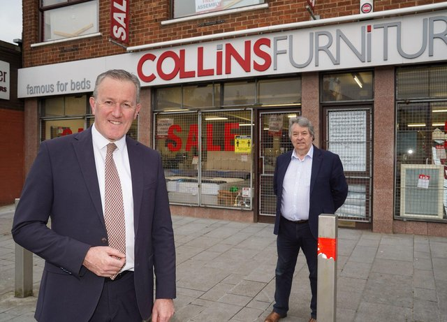 Finance Minister, Conor Murphy launching the Large NAV Business Grant Scheme is pictured with Michael Collins owner of Collins Furniture