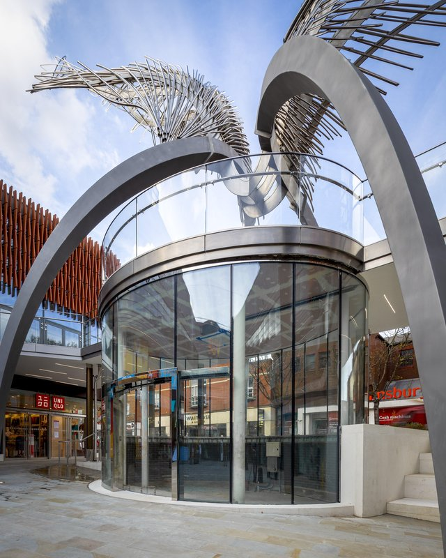 The Angel Central Shopping Centre's iconic winged sculpture in Islington