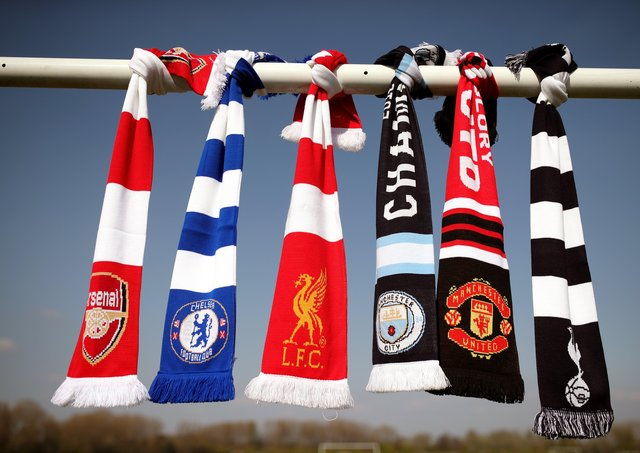 A selection of of Arsenal, Chelsea, Liverpool, Manchester City, Manchester United and Tottenham Hotspur scarves.