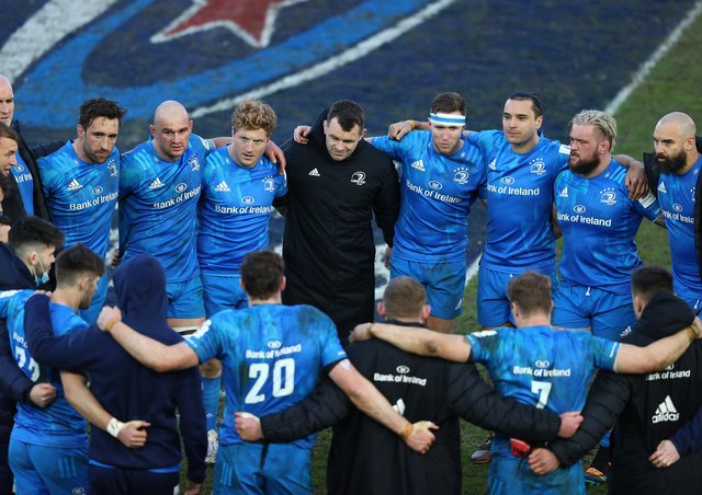 EXETER, ENGLAND - APRIL 10: The Leinster team form a huddle following their 34-22 victory in the Heineken Champions Cup Quarter Final match between Exeter Chiefs and Leinster at Sandy Park on April 10, 2021 in Exeter, England.Sporting stadiums around the UK remain under strict restrictions due to the Coronavirus Pandemic as Government social distancing laws prohibit fans inside venues resulting in games being played behind closed doors.  (Photo by Michael Steele/Getty Images)