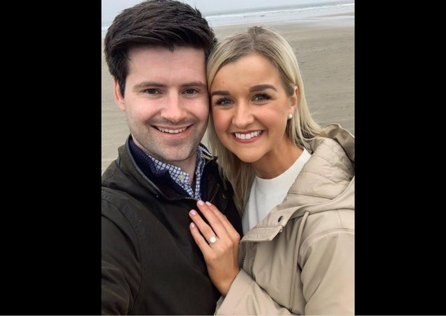 Jonathan Buckley with his bride to be Jill Porter.