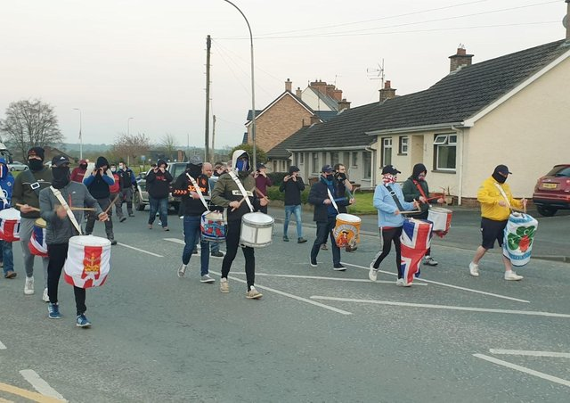 Protestors taking part in the parade in Markethill on Wednesday night.
