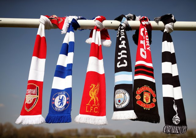 File photo dated 19-04-2021 of a selection of of Arsenal, Chelsea, Liverpool, Manchester City, Manchester United and Tottenham Hotspur scarves. Picture date: Monday April 19, 2021. Issue date: Wednesday April 21, 2021.